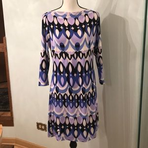 Ali Ro Blue Purple Mod Print Jersey Sheath Dress
